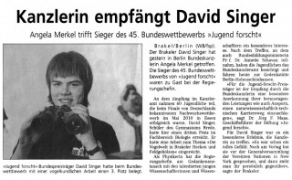 """Angela Merkel trifft Sieger des 45. Bundeswettbewerbs """"Jugend Forscht"""""""