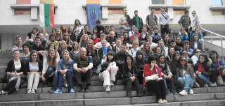 Comeniusgruppe vor der Nationalbibliothek in Plovdiv